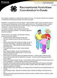 Recreational Activities Coordinator's Guide