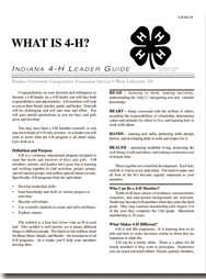 Indiana 4-H Leader Guide: What Is 4-H?