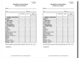Sew Much Fun Score Sheet: Dresses and Jumpers