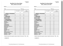 Sew Much Fun Score Sheet: Suits, Jackets, and Coats
