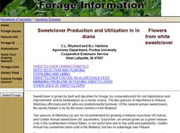 Sweetclover Production and Utilization in Indiana