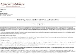 Calculating Manure and Manure Nutrient Application Rates