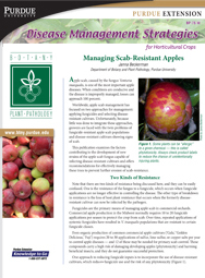 Disease Management Strategies for Horticultural Crops: Managing Scab-Resistant Apples