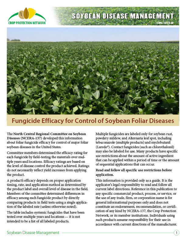 Soybean Disease Management: Fungicide Efficacy for Control of Soybean Foliar Diseases
