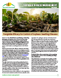Soybean Disease Management: Fungicide Efficacy for Control of Soybean Seedling Diseases