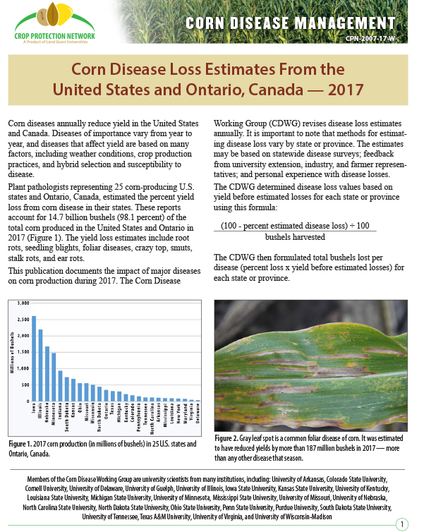 Corn Disease Management: Corn Disease Loss Estimates From the United States and Ontario, Canada -- 2017
