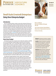 Small-Scale Livestock Enterprises: Dairy Steer Enterprise Budget