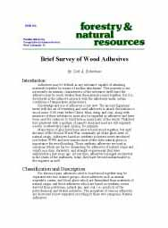A Brief Survey of Wood Adhesives