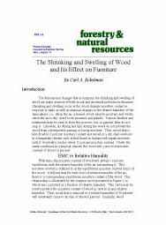 The Shrinking and Swelling of Wood and Its Effect on Furniture