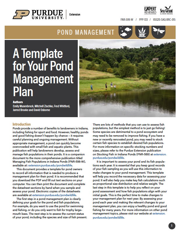 A Pond Management Plan Template
