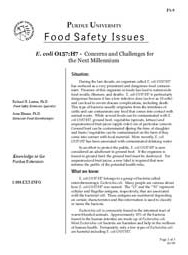 E. coli O157:H7: Concerns and Challenges for the Next Millennium