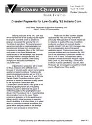 Disaster Payments for Low-Quality '92 Indiana Corn