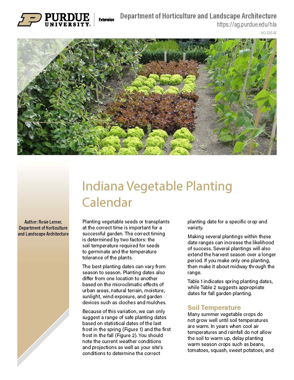 Indiana Vegetable Planting Calendar