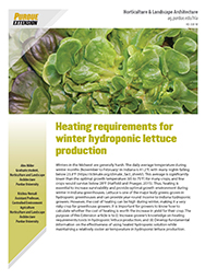 Heating requirements for winter hydroponic lettuce production