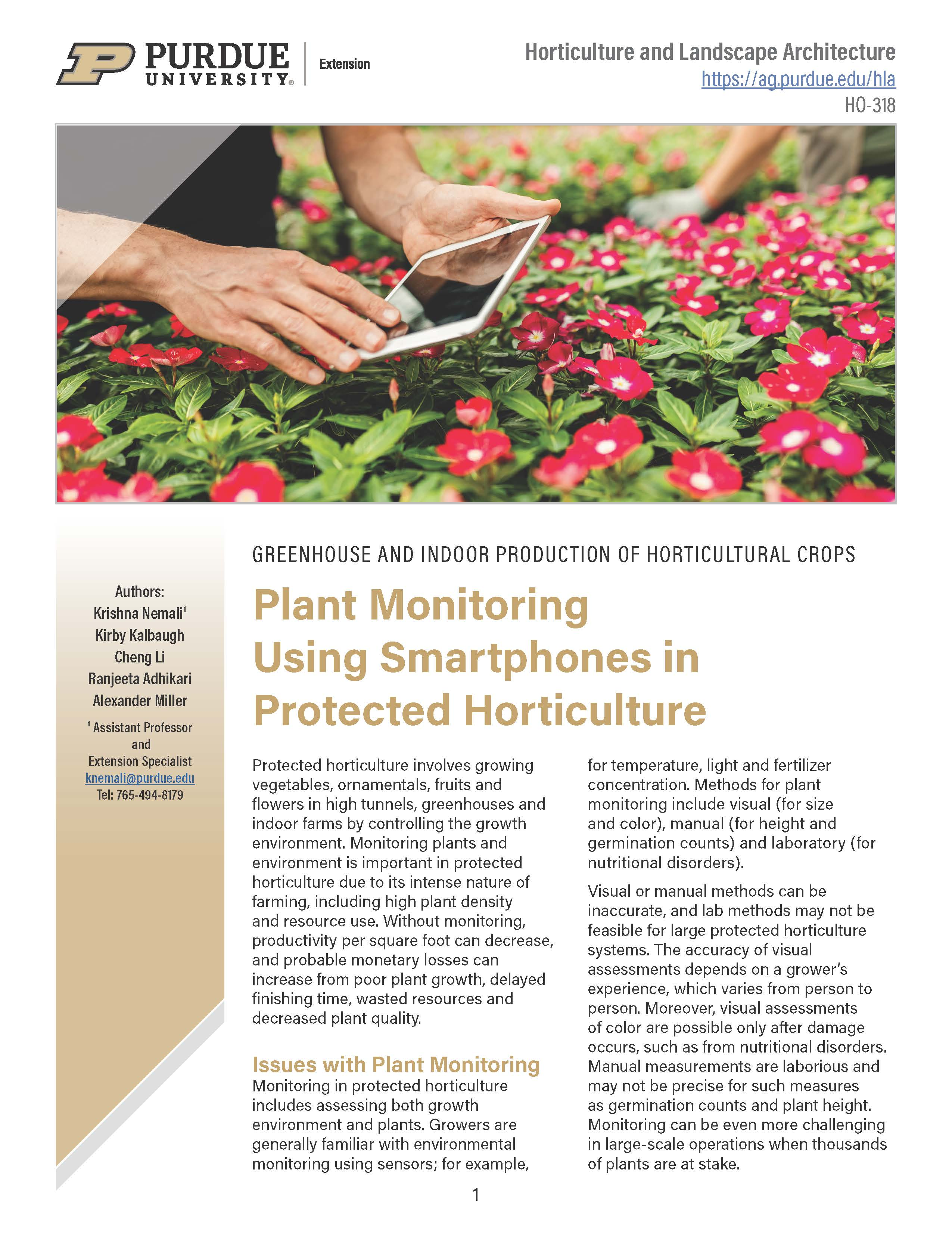 Greenhouse and Indoor Production of Horticultural Crops: Plant Monitoring Using Smartphones in Protected Agriculture